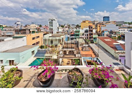 HO CHI MINH, VIETNAM - APRIL 28, 2014: View of one of the oldest neighborhoods in Ho Chi Minh City. Its formerly named Saigon, which was officially renamed Ho Chi Minh City July 2, 1976
