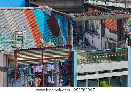HO CHI MINH, VIETNAM - APRIL 28, 2014:View on balconies on one of oldest neighborhoods in Ho Chi Minh. Its formerly named Saigon, which was officially renamed Ho Chi Minh City July 2, 1976
