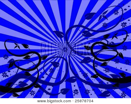 An abstract floral background design with winding tendrils on a blue sunburst effect background poster