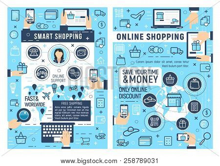 Online Smart Shopping And E-commerce Business. Laptop, Tablet Or Mobile Phone With Web Store Thin Li