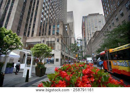 New York, Usa - August 23, 2018: View On 34 W 50th Street, Rockefeller Center (rockefeller Plaza Is