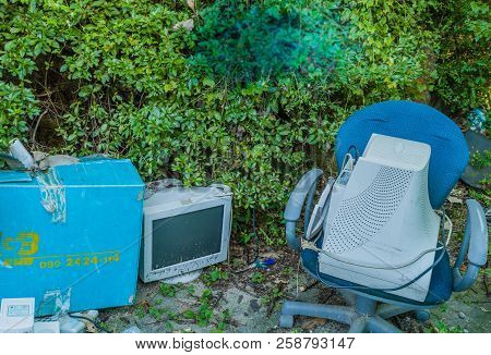 Discarded Crt Computer Monitors