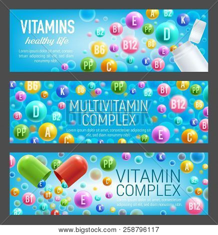 Multivitamin Complex Of Vitamin And Mineral Pills. Bottle And Open Capsule With Poured Out Colorful