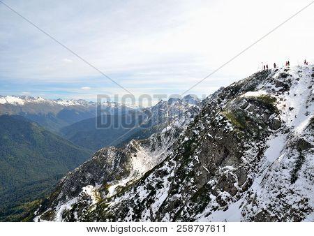 View Of The Ridge Achishkho, Krasnaya Polyana, Sochi, Russia