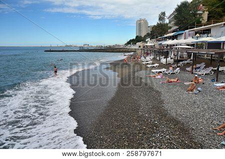 Sochi, Russia September, 2013: View Of The Beach In The Sochi, Russia