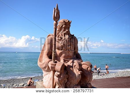 Sochi, Russia September, 2014: View Of The Sculpture Of Neptune On The Beach Background In The Sochi