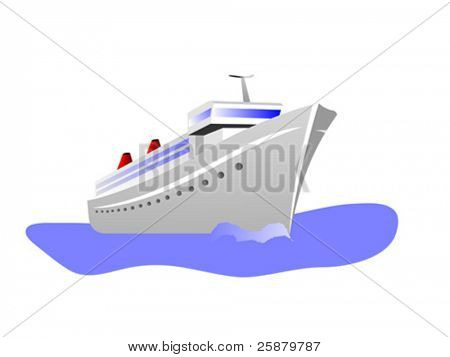 A vector illustration of a cruise ship