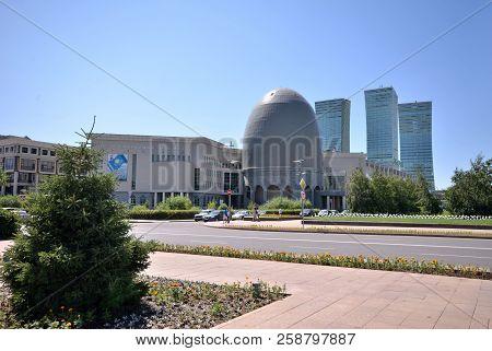 Water-green Boulevard, Astana, Kazakhstan July, 2015: View High-rise Buildings On The Water-green Bo