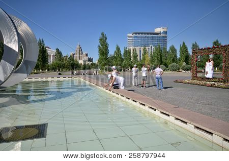 Water-green Boulevard, Astana, Kazakhstan July, 2015: View Of The Water Green Boulevard.