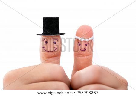 Two Fingers As Fresh Married Couple, Isolated In Front Of White Background