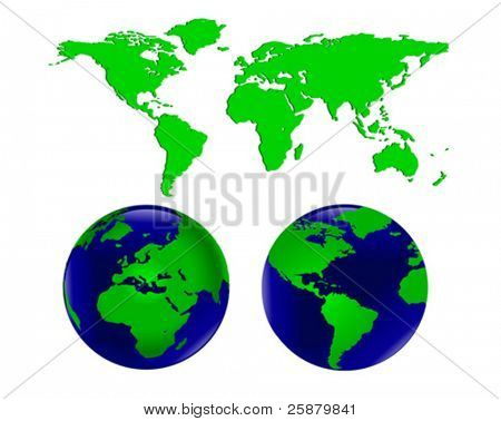 Vector illustration of two world globes with europe and africa facing forward on one and the americas on the other together with a map of the world which can be separated into different continents.