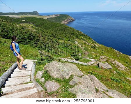 Beautiful Views Hiking The East Coast Trail Off The Coast Of Newfoundland And Labrador, Canada.  Thi