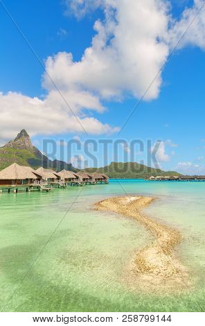 Nice View Of Traditional Tropical Villas With Beautiful View Of Mount Otemanu, French Polynesia