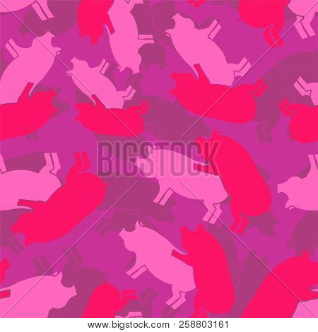 Pig Sex Pink Army Pattern Eamless. Piggy Intercourse Military Background. Soldiery Pigs Ornament. Fa