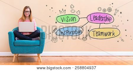 Leadership Concept With Young Woman Using Her Laptop In A Chair