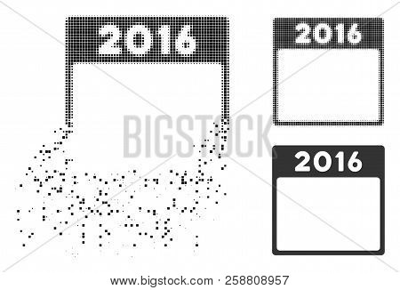 2016 Year Calendar Template Icon In Fragmented, Pixelated Halftone And Original Versions. Elements A