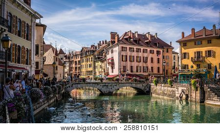 7 August 2018, Annecy France : Annecy Cityscape Wih Thiou River View Bridge And Palais De L Isle In