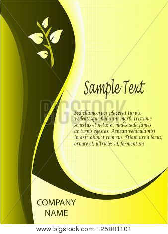 A yellow business card, brochure cover or presentation vector background template
