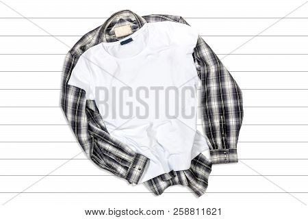 White T-shirt And Shirt On A White Wooden Background - Flat Lay T-shirt Mockup