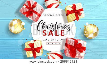 Web Banner For Christmas Sale. Elegant Background With Top View On Realistic Gift Boxes And Christma