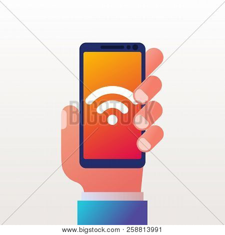 Wifi Icon On Phone. Smartphone In Hand. Connect To The Network. Symbol Free Wifi. Vector Illustratio