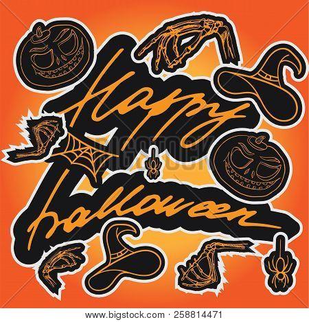 The Inscription Of Happy Halloween. Cartoon Background. Pumpkin, Spider, Cobweb, Witch Hat And Bones