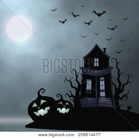 Ghost Old House, Mistery Place, Halloween Vector Illustration. Smile Pumpkin, Dry Tree, Bats Flock,