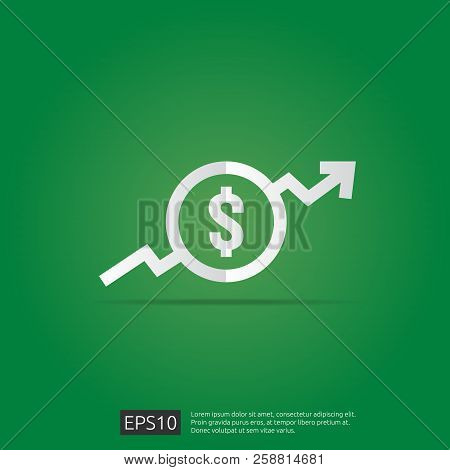 Dollar Increase Icon. Money Symbol With Arrow Stretching Rising Up. Business Cost Sale Icon. Vector