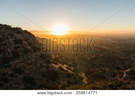 Sunrise view of the San Fernando Valley in Los Angeles, California.  Shot from the Santa Susana Mountains looking east towards the San Gabriel Mountains.