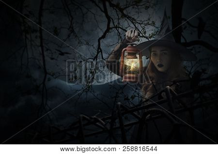 Halloween Witch Holding Ancient Lamp Standing Over Dead Tree, Crow, Birds, Full Moon And Spooky Clou