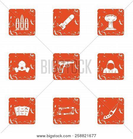 Threat Icons Set. Grunge Set Of 9 Threat Icons For Web Isolated On White Background
