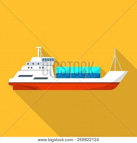Passenger Cargo Ship Icon. Flat Illustration Of Passenger Cargo Ship Icon For Web Design