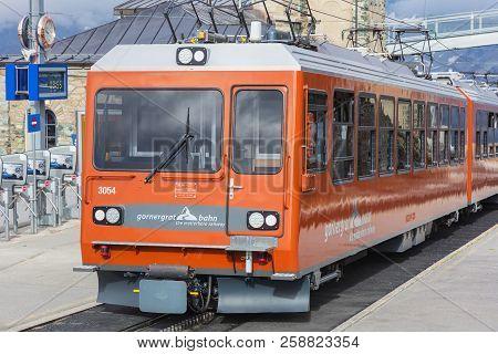 Mt. Gornegrat, Switzerland - September 16, 2018: A Gornergrat Railway Passenger Train Standing At Th