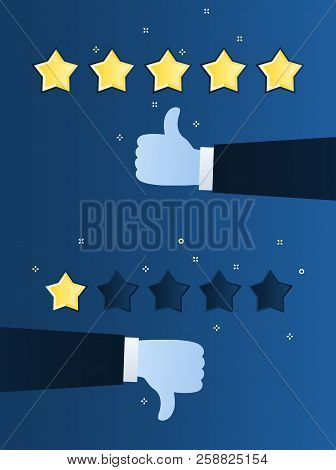 Concept Of Rating. Customer Review. One And Five Star Rating. Thumb Down, Dislike.
