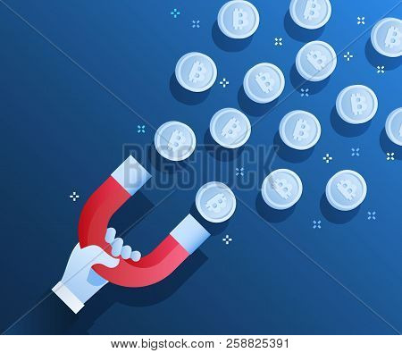 Concept Of Crypto-currency. Businessman Holding Magnet And Attract Bitcoin. Crypto Currency Mining.