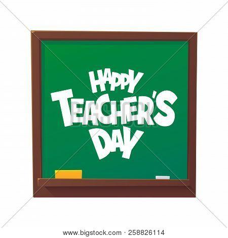 Happy Teachers Day Cartoon Blackboard Vector Illustration Isolated