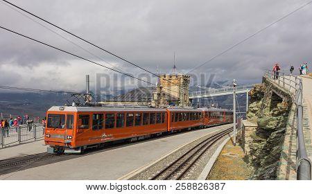 Mt. Gornegrat, Switzerland - September 16, 2018: Gornergrat Railway Station On The Top Of The Mounta