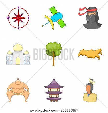Superpower Icons Set. Cartoon Set Of 9 Superpower Icons For Web Isolated On White Background