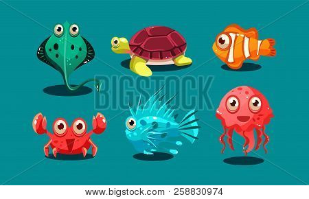Sea creatures set, cute funny animals and fishes characters, octopus, flounder, jellyfish, clown fish, turtle and medusa vector Illustration poster