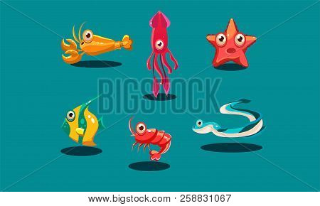 Sea Creatures Set, Cute Funny Animals And Fishes Characters, Squid, Starfish, Shrimp, Lobster, Zebra