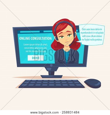 Portrait Of Happy Smiling Female Woman Customer Support Phone Operator Look Out Laptop. Modern New T