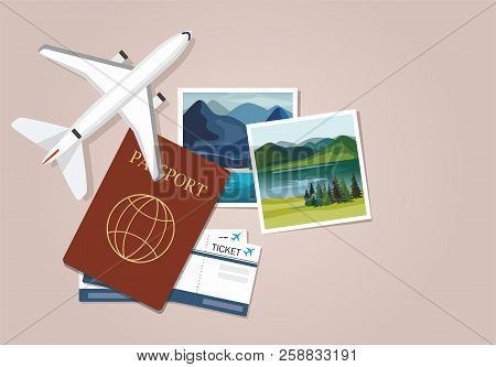 Plane Model With Travel Instant Photographs, Passports And Tickets. Travel Concept. Vector Illustrat