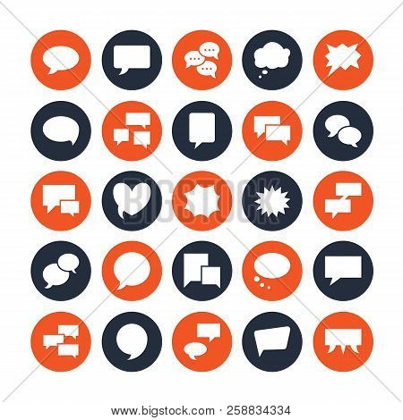 Speech Bubble Speech Flat Glyph Icons. Chat, Comment, Idea Illustrations. Signs For Communication Co