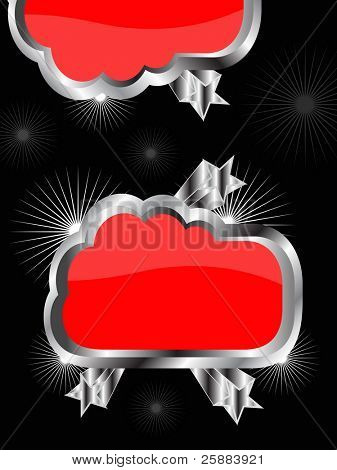 A red and Silver abstract funky background with room for text on a black background