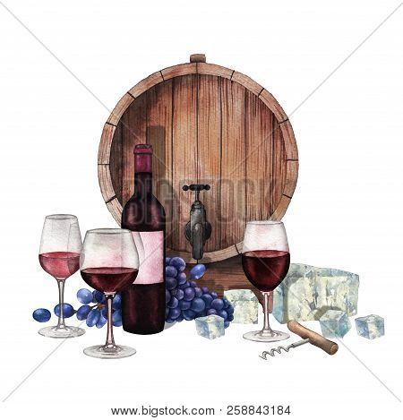 Watercolor Glasses Of Red Wine, Bottle, Grapes, Barrel, Cheese And Corkscrew.