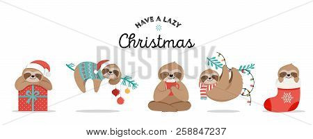 Cute Sloths, Funny Christmas Illustrations With Santa Claus Costumes, Hat And Scarfs, Greeting Cards