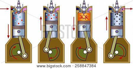 Diesel Power Engine. Illustration