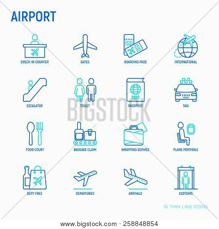 Airport Thin Line Icons Set: Check-in Counter, Gates, Boarding Pass, Escalator, Toilet, Food Court,