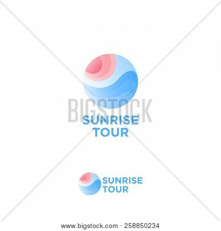 Sunrise Tour Logo. Travel Agency Emblem. The Sun And Waves In The Circle, Isolated On A White Backgr