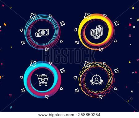 Set Of Coins, Dollar Money And Add Products Icons. Business Targeting Sign. Cash Money, Cash With Co